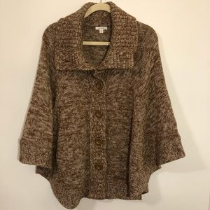 Caslon brown and tan sweater cape open front
